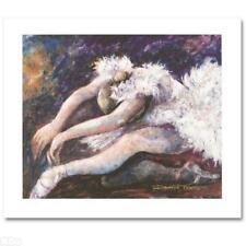 "Daniella Foletto ""Swan Lake"" Hand-Embellishment, Signed Giclee on Canvas. New"