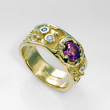 Contemporary 14kt Yellow Gold Pink Tourmaline Diamond Designer Ring Size 7