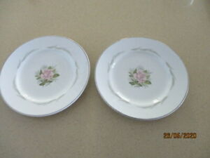 Two Alfred Clough Staffordshire Ironstone Satin White Pink Rose Side Plates