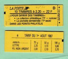 Liberté 2,20 F rouge - Carnet 2376 C7 - daté 5.5/8/88 - lettre D - 45ème tirage