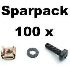 Je 100 Stück Rackschrauben M6x20 + Unterlegscheibe + Käfigmutter f. Stahlschiene