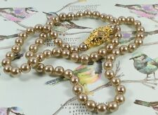 Lovely Vintage Joan Rivers Faux Bronzed Grey Pearl Necklace ~ Magnetic Egg Clasp