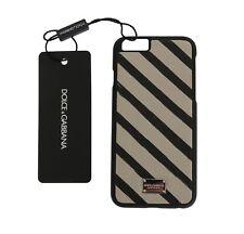 NEW $200 DOLCE & GABBANA Phone Case White Black Striped Logo Leather iPhone6