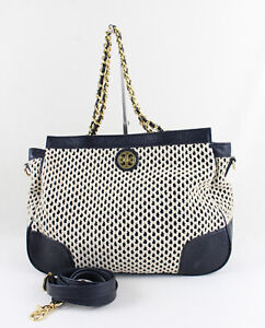 Tory Burch Ivory Rope Navy Leather Detachable Strap Shoulder Bag Handbag