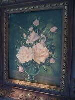 Antique Pink Rose Painting Print Roses Shabby Chic Still Life w/ Plastic Frame