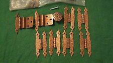LOT-PRIMITIVE HAMMERED COPPER HINGES (8), KNOB(1) MADE IN THE USA, ROCKFORD, IL