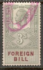 King George V - 3s Green - Foreign Bill - Used