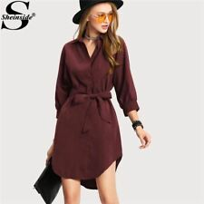 Women Asymmetrical Burgundy Turn-down Collar 3/4 Sleeve Bow Belt Shirt Dress