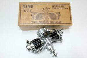 Rare 1978 Swedish DAMO FS-218 / 18cc First Twin 4-Stroke Glow Model Engine, NIB.