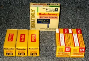 1960s 6 BOXES KODACOLOR & FOTOCOLOR COLOR NEGATIVE FILM & KODACHROME MOVIE FILM