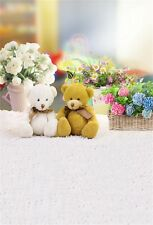 Bear Toys Flowers Baskets Photography Backgrounds 5x7ft Vinyl Photo Backdrops