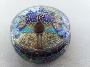 Cloissonne Trinketbox-Snuff box-trinkets-Pill box-Vintage-BirdBird FREE SHIPPING *