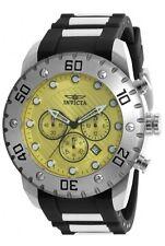 New Mens Invicta 20382 Pro Diver Scuba Chronograph Yellow Dial Watch