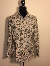 Daniel Rain Women Long Sleeve Button Down Floral Top Shirt with pockets Size L
