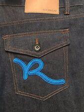 New W/Tags Rocawear Jeans Dark Wash Classic Fit Blue Script Flap Pocket 52X32