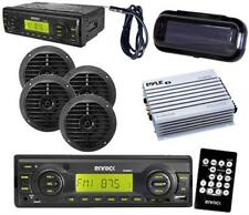 "Motorcycle Radio MMC MP3 SD Card w/4 6.5"" Speakers Antenna Cover Amp Remote Pkg"