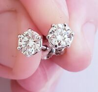 Round diamonds 0.94ct G VS Round Cut Diamond Studs Earrings 18kt White Gold