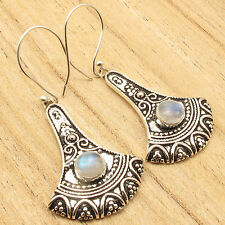 Creating A Sense Of Jewelry ! 925 Silver Plated RAINBOW MOONSTONE Gem Earrings