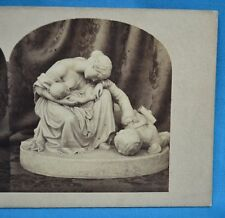 1850/60s Stereoview Photo Still Life Of Sculpture Statue The Wounded Soldier