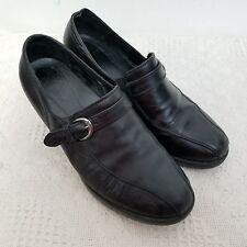 Dansko Womens Nora Heels 40 US 10 Black Buckle Block Leather Slip On Romania