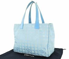 Authentic CHANEL New Travel Line Blue Tote Hand Bag Purse #26435B