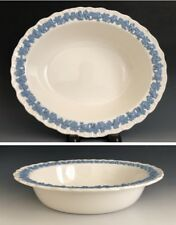 Wedgwood Embossed Queensware Lavender On Cream Shell Edge Oval Vegetable Bowl