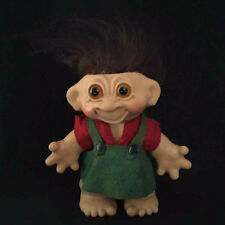 "Vintage 8"" Tall Troll Dam Doll Toy Green Overalls Dark Brown Hair Amber Eyes"