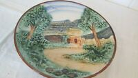 Japan Majolica Plate Cottage Trees Scene Thatched Roof Cottagecore W Label