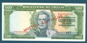 URUGUAY Specimen Muestra BANKNOTE 500 Pesos, Pick 48s 1967 Quinientos Pesos