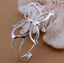 Sterling Silver 925 Plated Butterfly Bangle Cuff Bracelet SPRING!