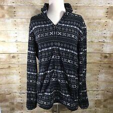 Uniqlo Black Holiday Winter Snowflake Full Zip Fleece Sweatshirt Sz L Womens