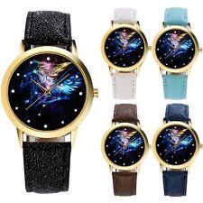 Womens Black Pegasus Galaxy Dial Leather Bracelet Quartz Wrist Watch