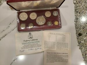 1973 Coinage of the Bahama Islands; 9 Coin Proof Set by Franklin Mint