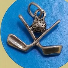 O37 Golf Clubs And Ball Sterling Silver Vintage Bracelet Charm