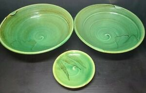Set Of 3 Ceramic Green Leaf Bowls Unmarked Art Pottery