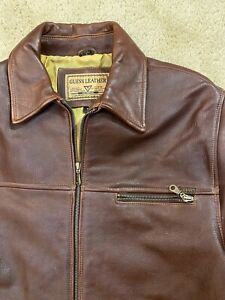 Guess Leather heavy weight Brown Moto Jacket Men's Size M