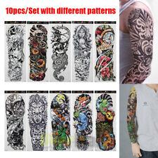 Temporary Tattoo Sleeves 10pcs Sheets Large Fake Black Full Arm Tattoo Stickers