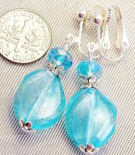"FREE SHIP Light Turquoise Silver Foil and Crystal CLIP ON Earrings 1.7"" Dangle ."