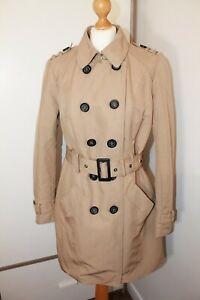 Reset Fifty Seven Ladies Beige Brown Double Breasted Belted Trench Coat Size 16