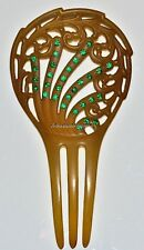 LOVELY ANTIQUE VICTORIAN CELLULOID EMERALD GREEN RHINESTONE CRYSTALS HAIR COMB