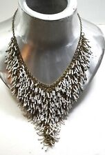 VINTAGE MESH BRASS  WHITE GLASS TUBE WATERFALL NECKLACE