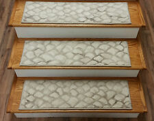 """Rug Depot Set of 13 Contemporary Non Slip Carpet Stair Treads 31"""" x 9"""" Ivory"""