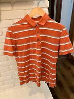 Banana Republic Men's Orange & White Striped Short Sleeve Polo Shirt Size Medium