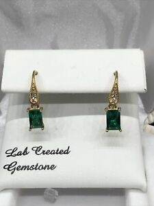 14K Yellow Gold over Sterling Silver Lab-Created Emerald & White Sapphire