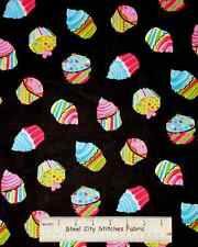 """Timeless Treasures Cupcake Black C9676 Cup Cake Party Toss Cotton Fabric 20"""""""