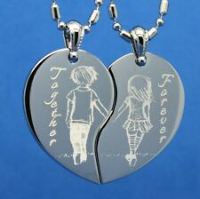 COUPLE HOLDING HANDS SPLIT HEART PENDANT NECKLACE - PERSONALIZE FREE!!