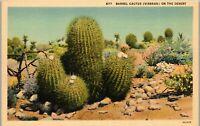 Barrel Cactus on the Desert Southwest Vintage Postcard AU1