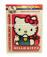 HELLO KITTY By SANRIO 2pc 60 Sheets DIECUT DIARY+GEL PEN Apple+Milk NEW! 1b