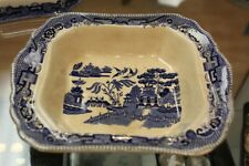 ANTIQUE BLUE WILLOW SEMI VIT BUFFALO POTTERY 1911 SQUARE SERVING VEGETABLE BOWL