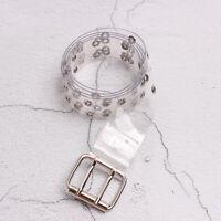 Women Belt Two Row PVC Buckle Double Pin   Female Waist Transparent Belts_